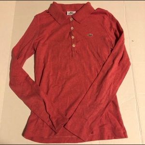 Lacoste Womens Size 38 Long Sleeve Polo Shirt